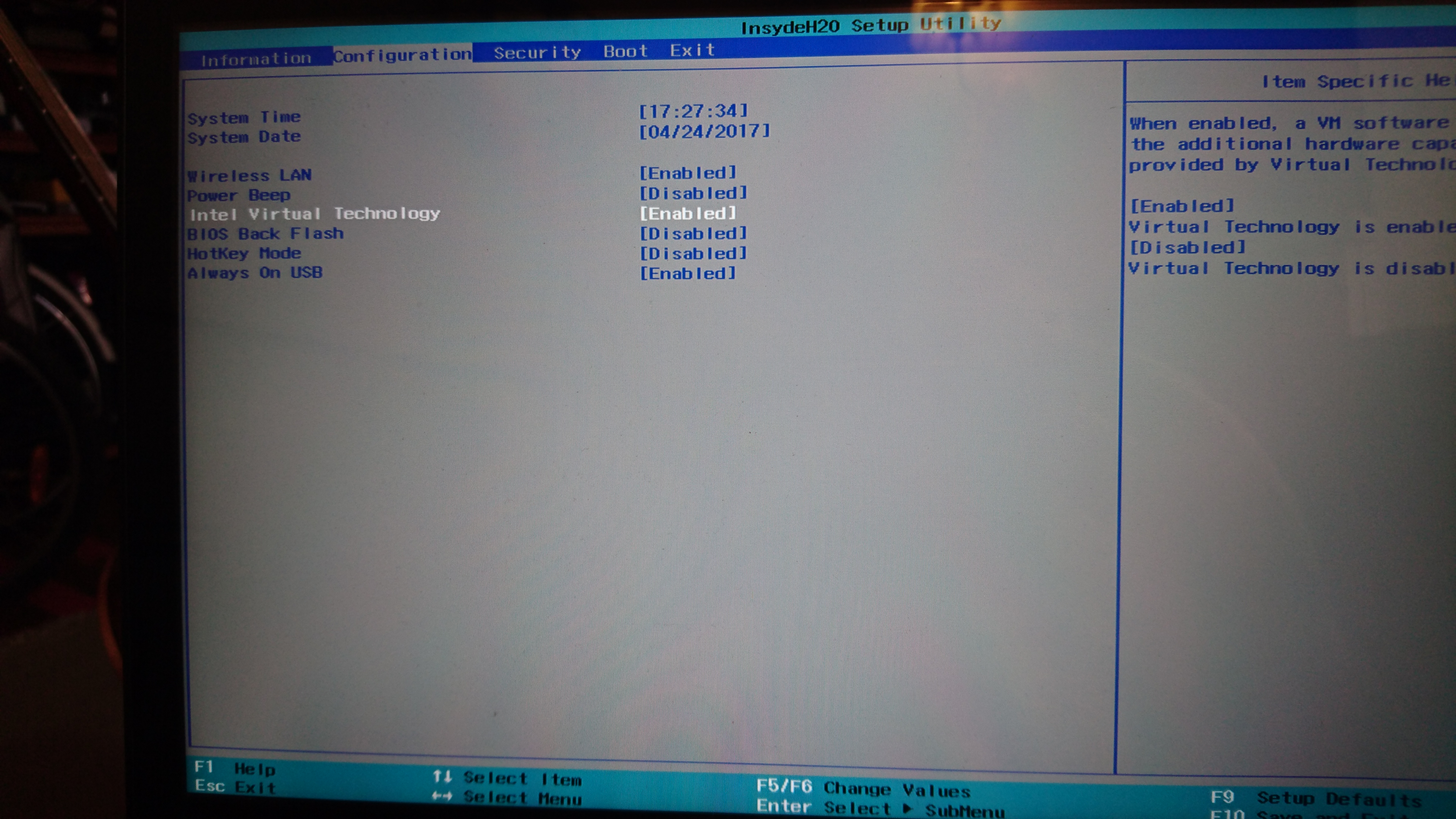 BIOS page of Lenovo Flex 4 IdeaPad - Virtualization setting